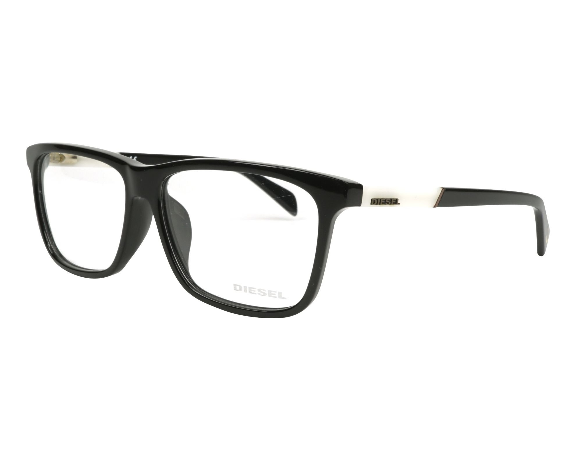Diesel Rx Eyeglasses Frames DL5131-F 001 59-14-150 Shiny Black / White Asian Fit