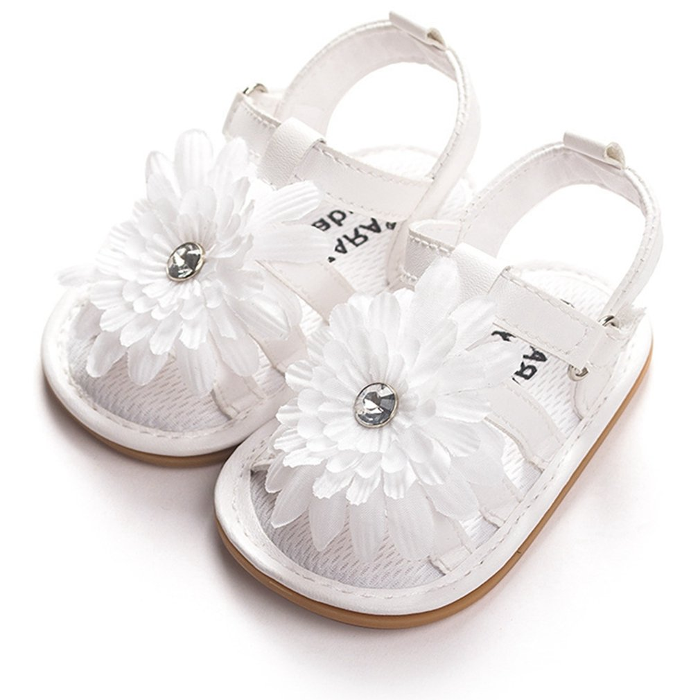 Baby Girls Sandals Prewalker Rubber Sole Non-Slip Flower Outdoor Summer First Walker Shoes