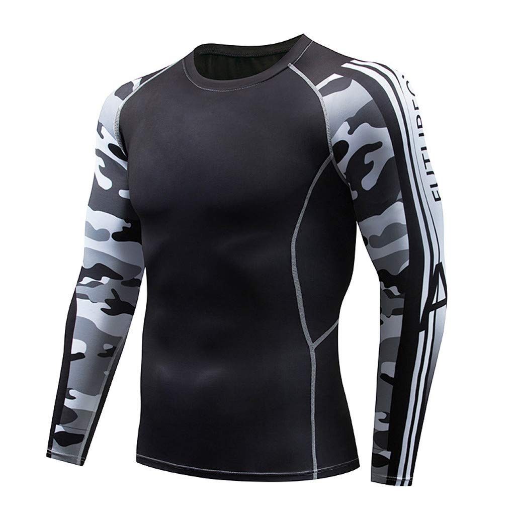 LYLIFE Mens Gym Workout Camouflage Cycling Tights Suit Muscle Bodybuilding