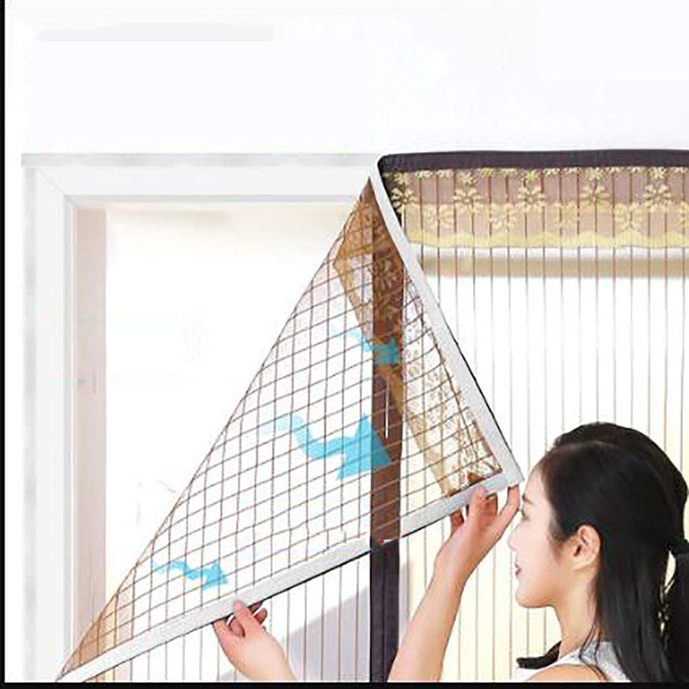 Summer Super fine mesh Fly Curtain Mosquito Curtain Heavy Duty mesh Curtain Prevent Bugs from Entering-Coffee 110x230cm Polyester Magnetic Screen Door 43x91inch
