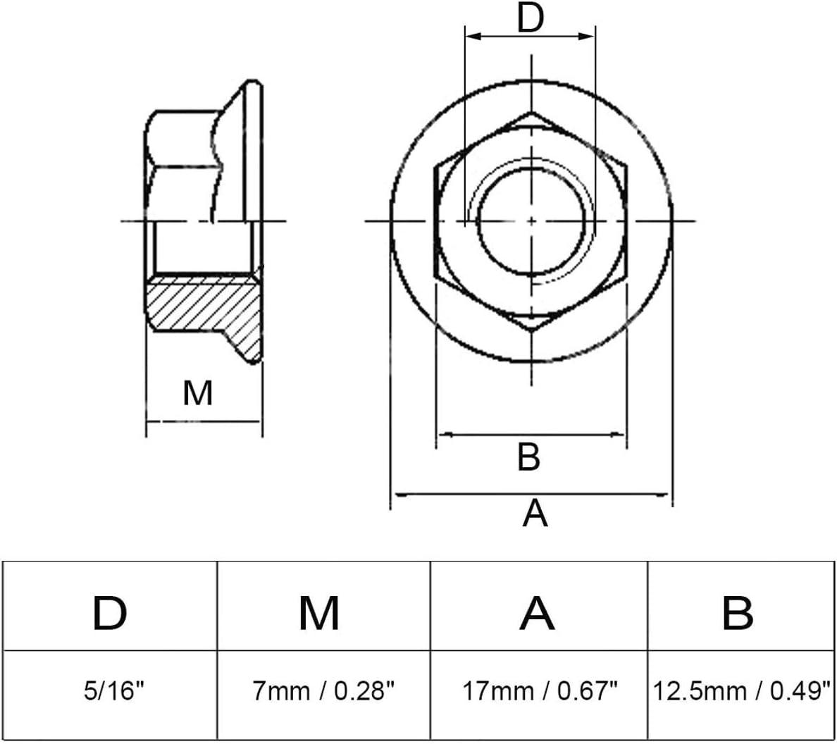 Zeen 304 Edelstahl-Sechskant-Flanschmutter 20 pcs Sechskantmuttern 1//4-20 silberfarben Wellenschliff