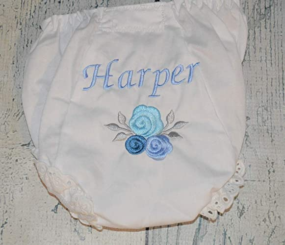 1cd53f239 Amazon.com  Personalized Blue Roses Baby Bloomers