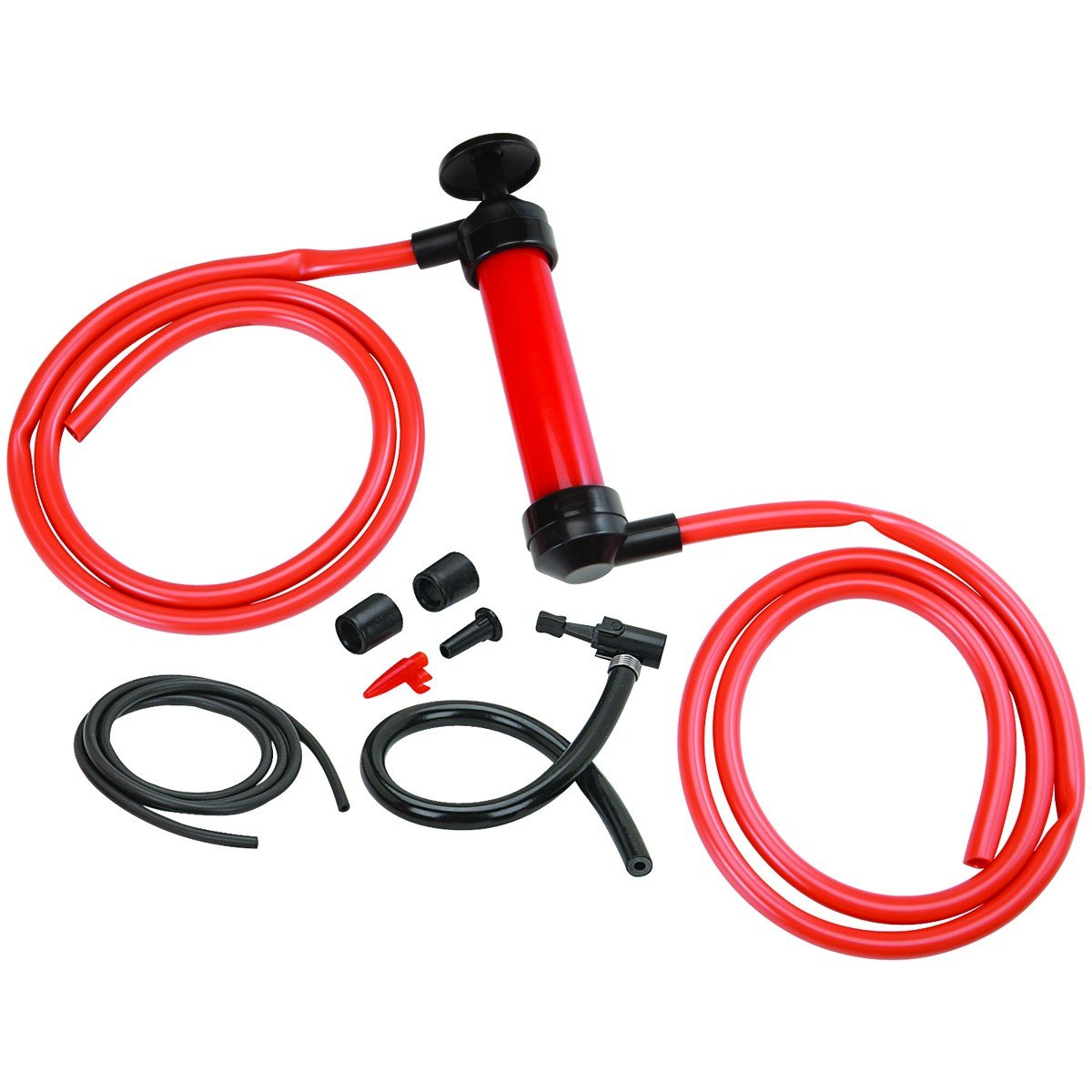 ''ABC Products'' - Multi-Use ~ Transfer Pump and Air Pump - two 51 in long, 1/2 in diameter hoses - Ideal for Changing Oil and Siphoning Gas (Comes With Inflation Needle - Transforms Into Air Pump)