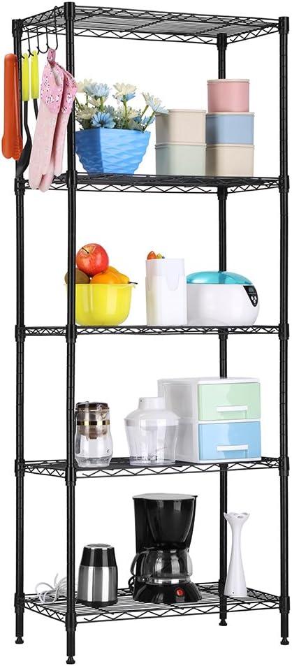 LANGRIA 5 Tier Shelving Units Storage Rack Supreme Wire Shelving Organization, Black: Kitchen & Dining