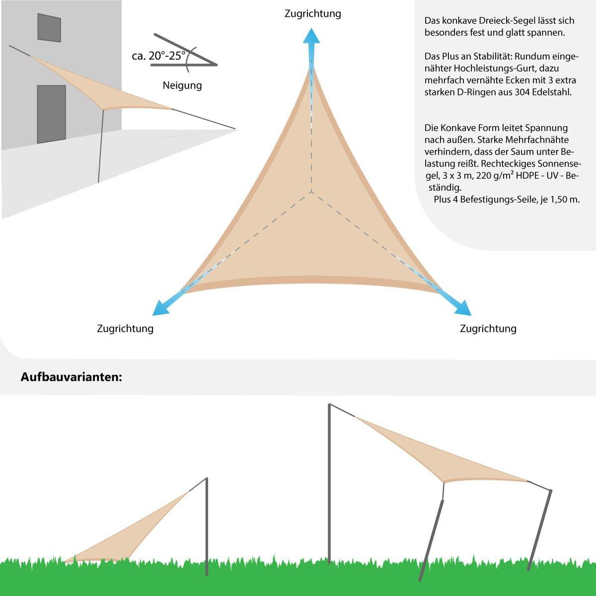 AMANKA Vela Parasole 3x3x3m tendone da ombreggiatura Triangolare per Esterni in HDPE Traspirante permeabile Crema