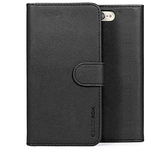 BUDDIBOX iPhone 7 Plus Case / iPhone 8 Plus Case, [Wallet Case] Premium PU Leather Wallet Case with [Kickstand] Card Holder and ID Slot for Apple iPhone 7 Plus / iPhone 8 Plus, (Black)
