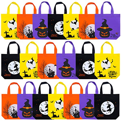 Elcoho 20 Packs 9.8 by 9.8 Inches Halloween Non-woven Bags Trick or Treat Bags Tote Bags Gift Bag Party Goody with Handles Party Favors, 4 -