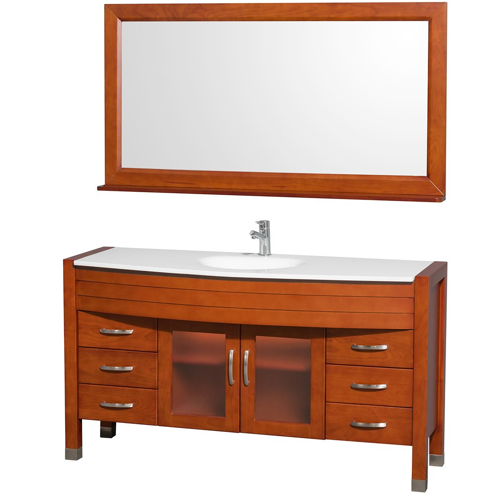 60 Single Sink Vanity Part - 26: Wyndham Collection Daytona 60 Inch Single Bathroom Vanity In Espresso With  White Man-Made Stone Top With Integrated Sink - Bathroom Vanities -  Amazon.com