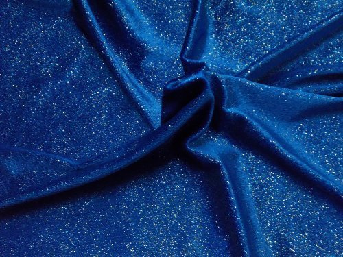 Glitter Infused 4-Way Stretch Velvet Fabric By The Yard - Royal Blue With Glitter 60