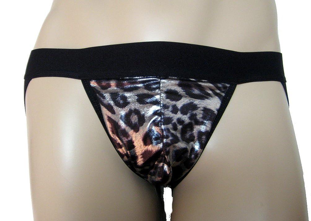 Sergio Quiller Mens Jock Strap Silver Metalic Look with Leopard Spots
