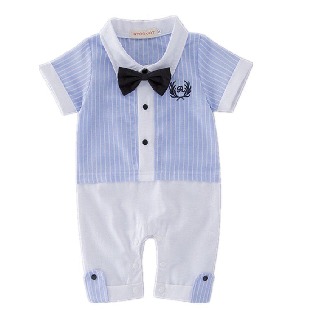 Hooyi Baby Boy Clothes Gentleman tie Rompers Blue Stripe Jumpsuits