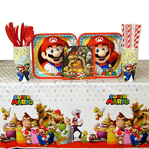 Super Mario Brothers Party Supplies Pack for 16 Guests | Straws, Dinner Plates, Luncheon Napkins, Cups, Cutlery, and Table Cover | Perfect Addition To Your Super Mario Brothers Party Decorations!
