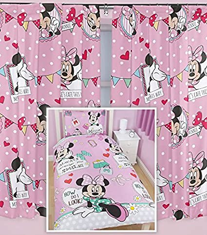 Minnie Mouse Single Bedding and Curtains Set - 72s: Amazon ...