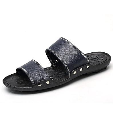 Feidaeu Herren Moderne Sandalen Weich Kunstleder Leichtgewicht Atmungsaktiv Soft Sohle Sommer Pantoletten Blau 43 EU MYv1Wwt