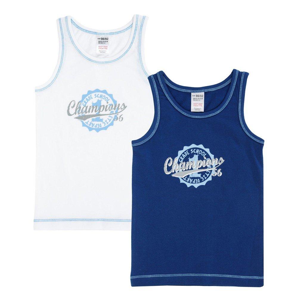 Jacky Unterhemd 2er-Set für Jungen und Mädchen in verschiedenen Größen Legend Blau/Weiß 98/104 770050