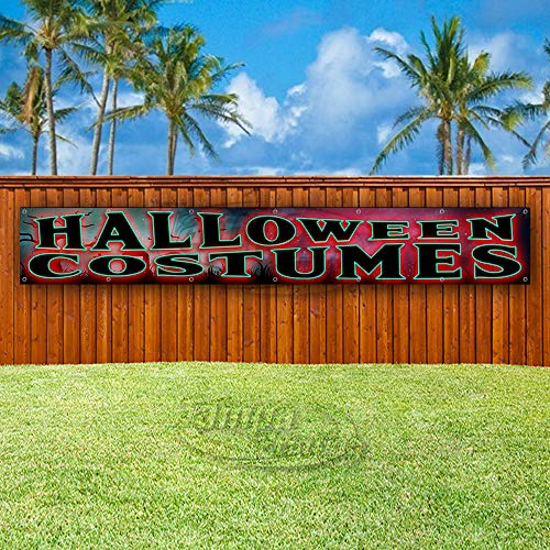 (Halloween Costumes Extra Large 13 oz Heavy Duty Vinyl Banner Sign with Metal Grommets, New, Store, Advertising, Flag, (Many Sizes)
