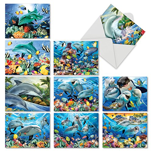 - 10 Ocean Creature 'Multi Porpoises' Bulk Thank You Cards with Envelopes (Mini 4
