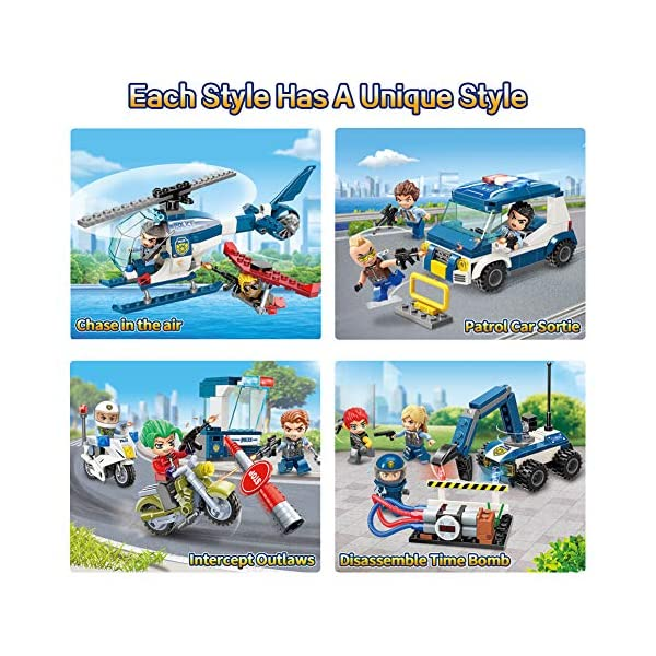 Qman Series Building Blocks of City Police 1932, 4 in 1 Includes Outlaw Interception,Disassemble Time Bomb,Air Chasing…