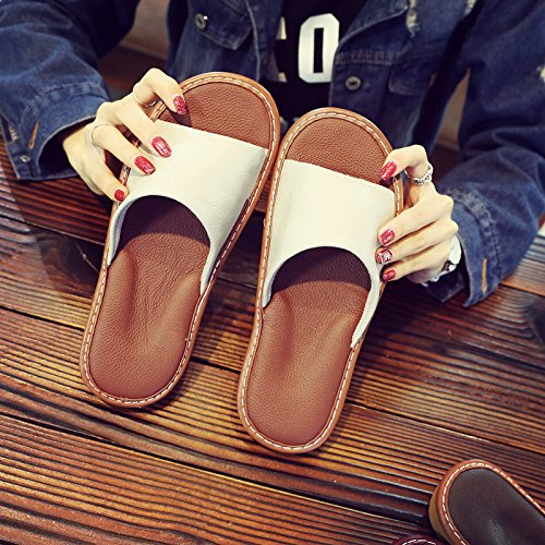 35 slippers 36 wooden summer Yellow air cool couples female Slippers fankou Light home interior silent men's home floor xgA6Opwq