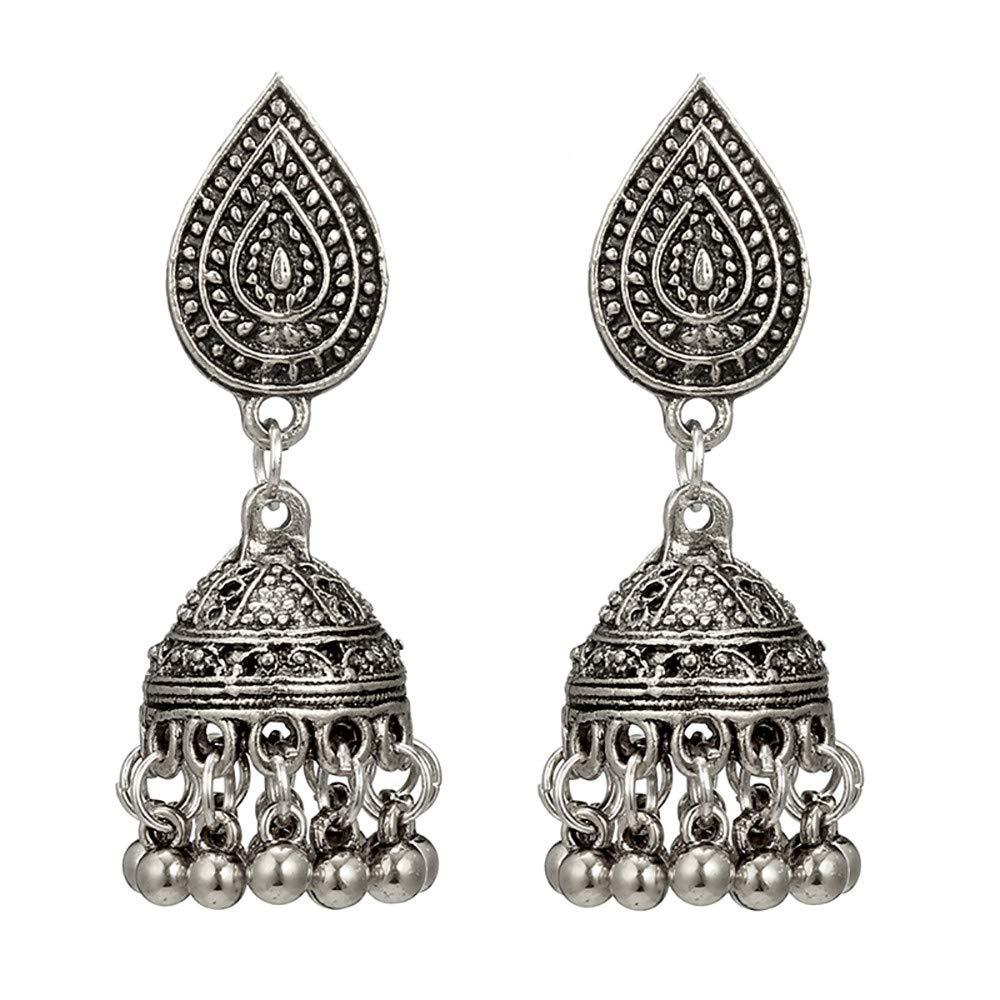 Hemlock Women Big Ear Studs Earrings Carved Flower Totem Earrings Round Ball Bell Drop Earrings Dance Earrings