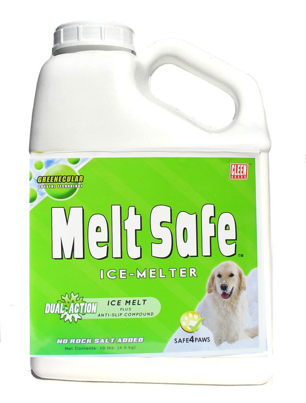 Cleen Products MELT Safe - Ice Melt for Pets - 10-lb Size - Safe for use as a Snow and ice Melter on driveways and Sidewalks - Easy-Shake Container by Cleen Products