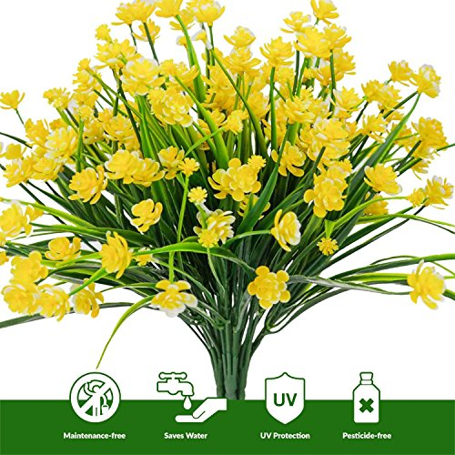 Yellow Daffodils - EHAND Artificial Fake Flowers,Faux Yellow Daffodils Outdoor Greenery Shrubs Plants Plastic Bushes Window Box UV resistant 4 Branches Fence Indoor Outside Hanging Planter Wedding Cemetery Décor