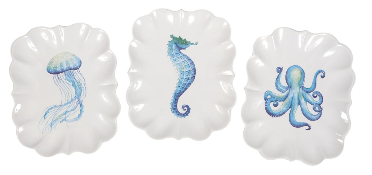 Octopus Jellyfish and Seahorse Scalloped Edge Ceramic Serving Plates Set of 3 Dennis East