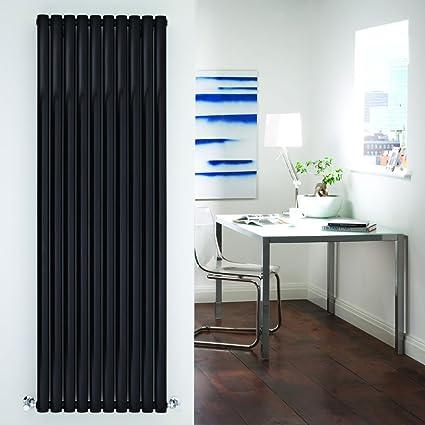 Hudson Reed TDRB009 - Radiador Calentador Mural Diseño Vertical Doble en Acero - Acabado Negro Lúcido