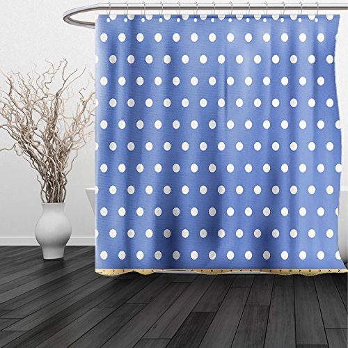 HAIXIA Shower Curtain Retro by White Polka Dots on Blue Background Romantic Classical Vintage Style Pattern Violet Blue White
