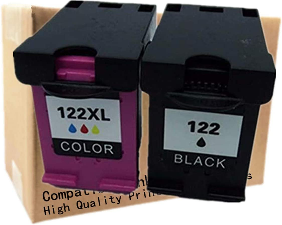 No-name Remanufactured Ink Cartridges Replacement for HP 122 XL HP122 HP122XL 122XL Deskjet F2483 F2493 D1600 D1660 D1663 D2500 D2560 D2563 D2660 Inkjet Printer (1 Black + 1 Tri-Color)