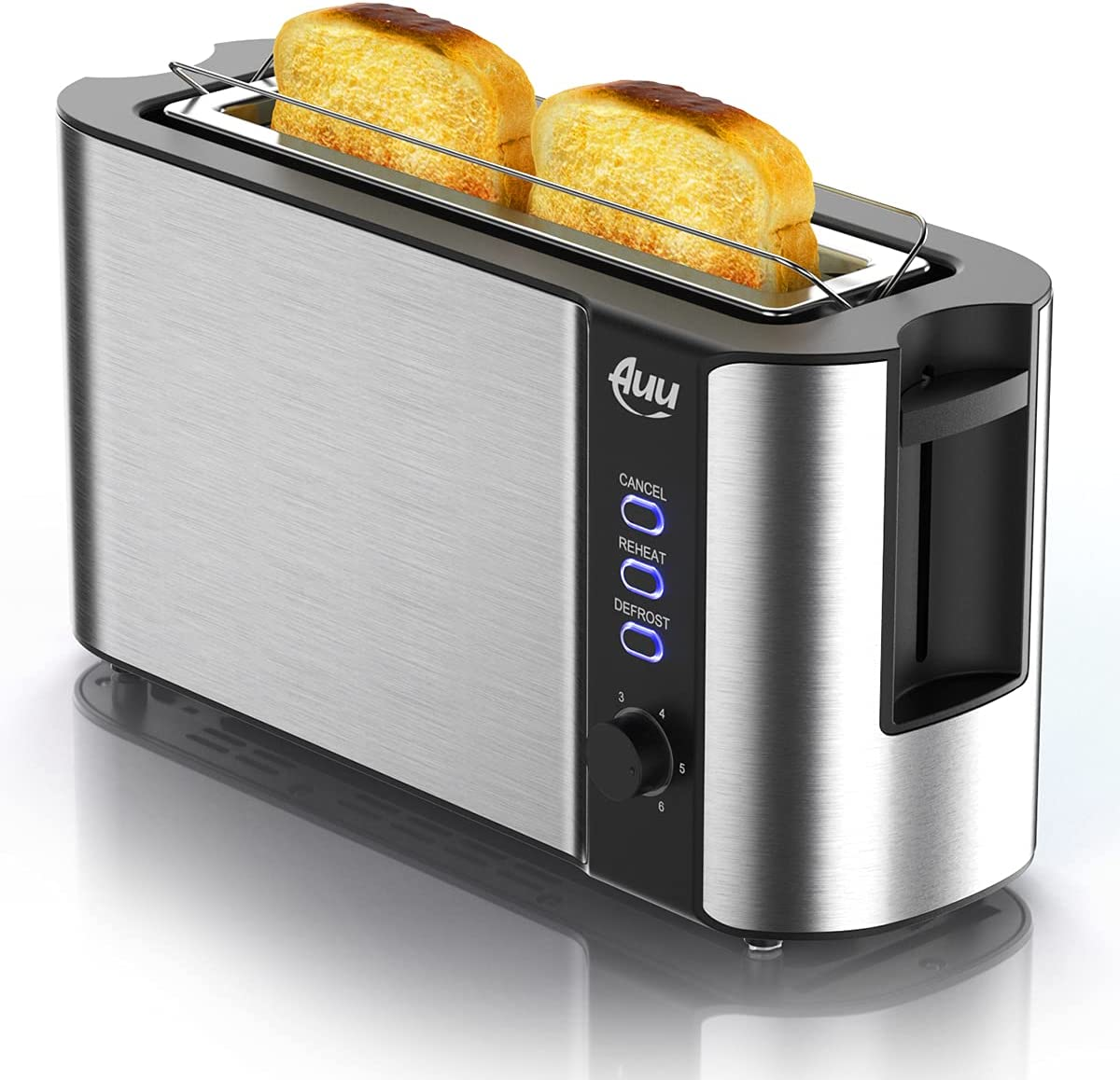 Long Slot Toaster, Toaster 2 Slice Best Rated Prime with Warming Rack, 1.7'' Extra Wide Slots Stainless Steel Toasters, 6 Browning Settings, Defrost/Reheat/Cancel, Removable Crumb Tray, 1000W