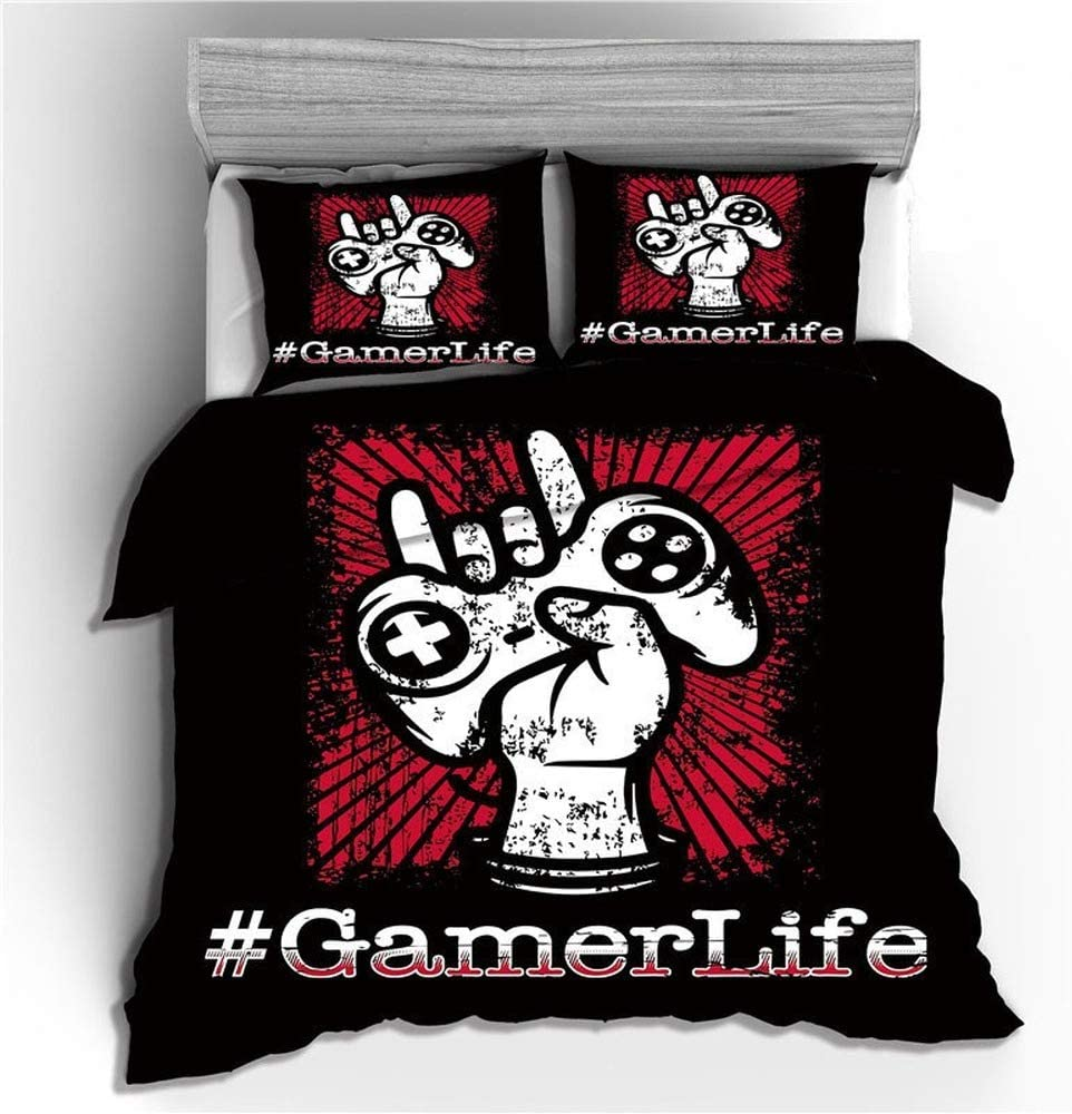 N01, Single 135 x 200 cm XWXBB Gamer Three-Piece Gamepad Quilt Cover Game is made of Duvet Covers Series Duvet Cover Kids Duvet Cover High Density Polyester Fibre in Full Size