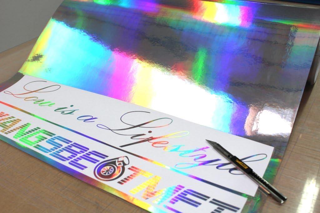 35,40€/m²) Holograma película de efecto cromo para Trazador Plotter Film Silver Plata Oilslick para coches diy Artesanía: Amazon.es: Coche y moto