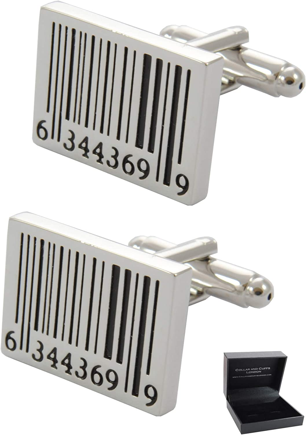 COLLAR AND CUFFS LONDON - Premium Cufflinks with Gift Box - Barcode - Shop Shopping Scan Oblong - Rectangle Oblong Shape - Silver and Black Colors