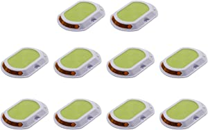 CZC Green Waterproof Solar Road Studs Marker Light for Driveway Garden Pavement Deck Dock Pathway Light with Reflector on Sides-10Pack