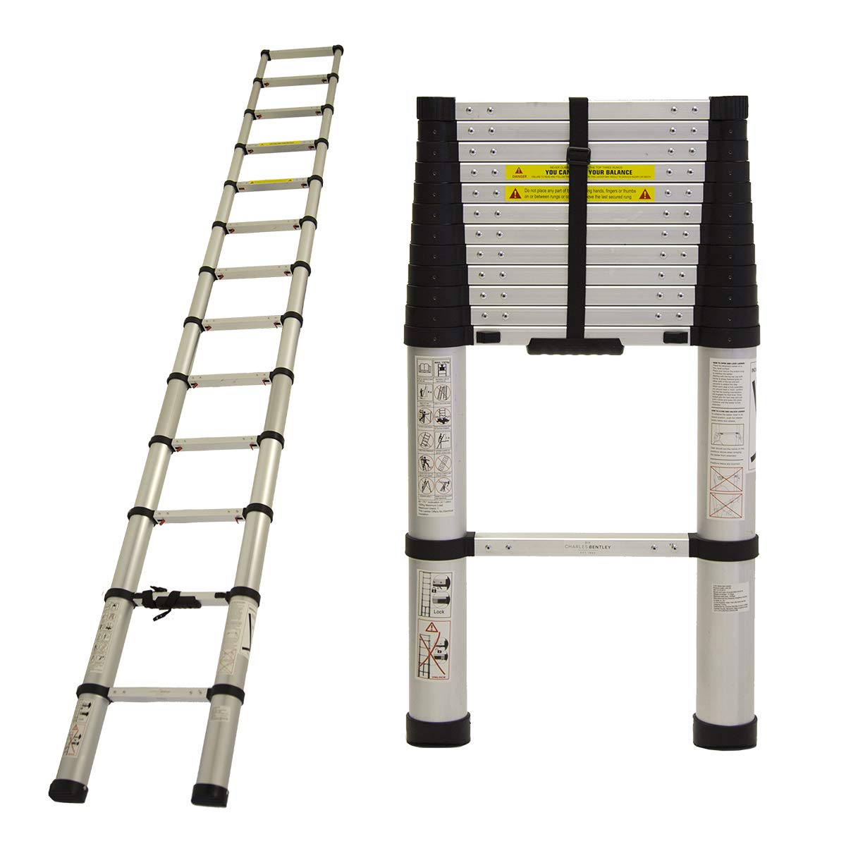 Charles Bentley 3.8M Telescopic Extendable Ladder - Soft Close Anti Pinch Finger Protection