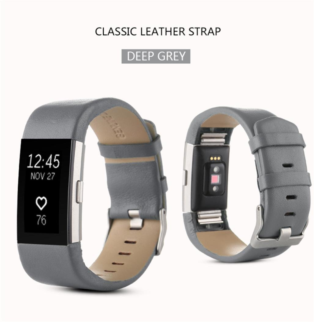 WensLTDスポーツ本革時計バンドストラップfor Fitbit Charge 2手首バンドブレスレット  グレー B06X9V77LW