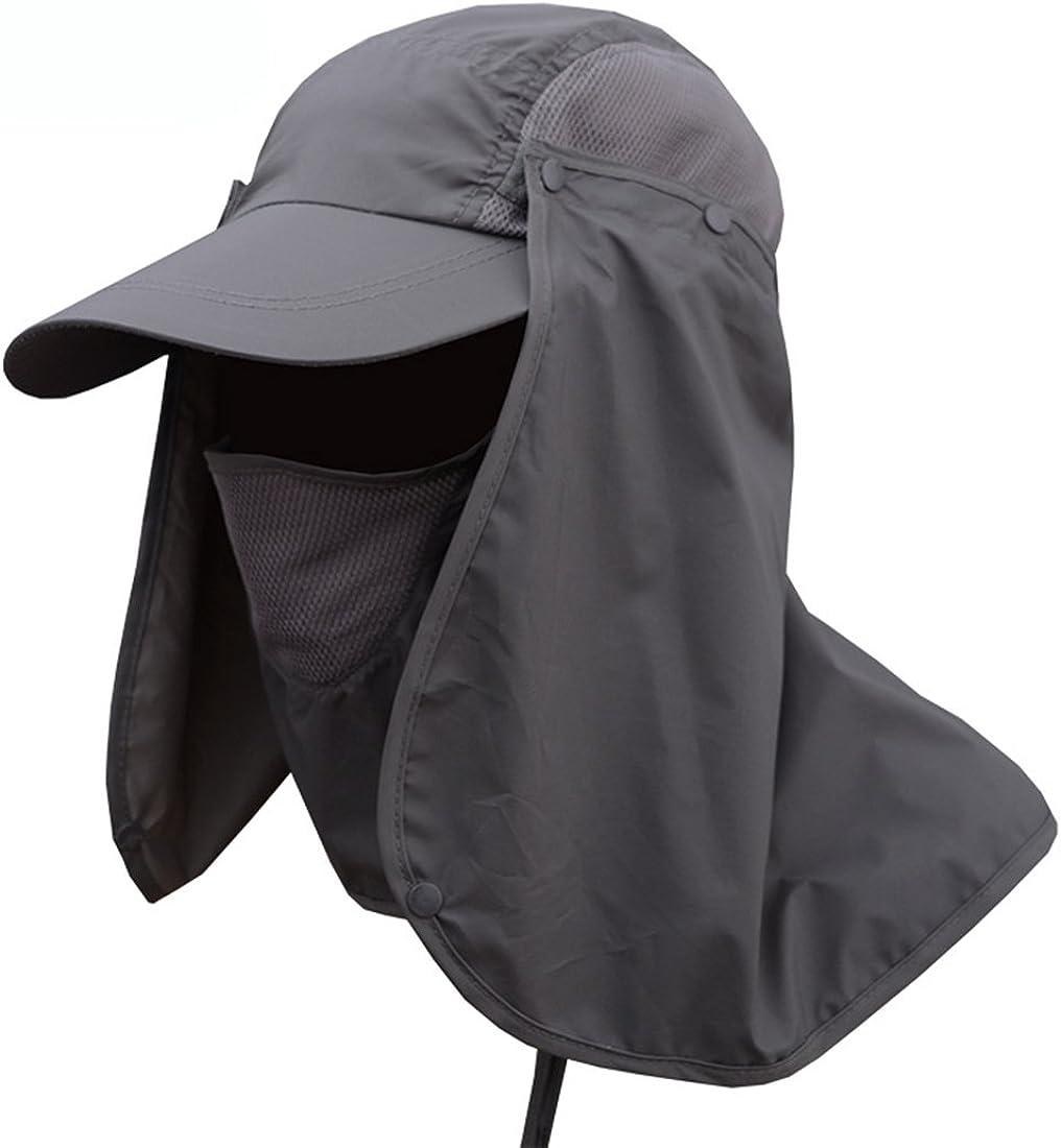 Boomly Hombres Mujer Sombrero para el Sol Anti-Ultravioleta Sombrero de Pesca con Proteccion de Cuello Sombrero de ala Ancha Secado rápido Respirable para Equitación, Camping, Senderismo