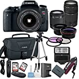 Canon EOS Rebel T6S Digital SLR Camera with EF-S 18-55mm Lens + 75-300mm Zoom Lens Bundle includes Camera, Lenses, Filters, Bag, Memory Cards, Tripod, Flash and More - International Version