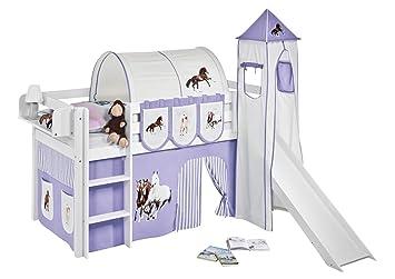 Etagenbett Hochbett Spielbett Kinderbett Jelle 90x200cm Vorhang : Lilokids spielbett jelle pferde lila beige hochbett weiß mit