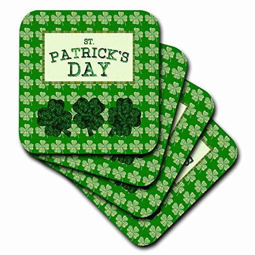 (3dRose Beverly Turner St Patrick Day Design - St Patrick Day, Three Four Leaf Clover, Plaid Four Leaf Clover Design - set of 4 Ceramic Tile Coasters (cst_280569_3))