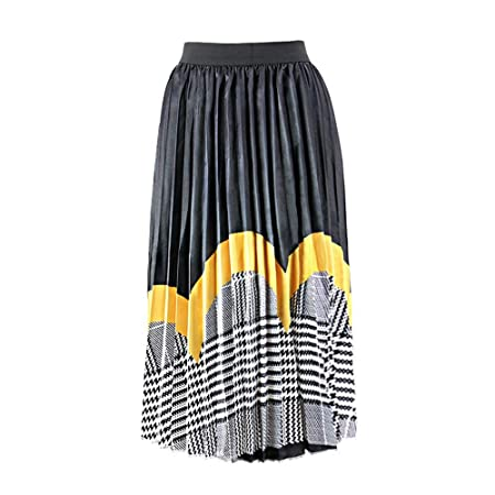 Owenqian Faldas de Mujer Plisadas Vintage Faldas de Mujer Bloque ...