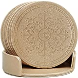 Drinks Coasters,Classic Pattern Faux Leather Coaster Set of 6 with Holder Absorbent Coasters by Happydavid (gold round)
