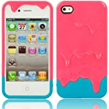 Semoss - Cover Rigida Protettiva Bumper Custodia con Ice Cream /Gelato per Apple iPhone 4 4S in TPU Skin - Light Pink /Blu