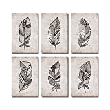 SUMGAR Vintage Wall Art Boho Decor Black Feathers in Geometric Style Pictures Set of 6 Pictures,8x12inch