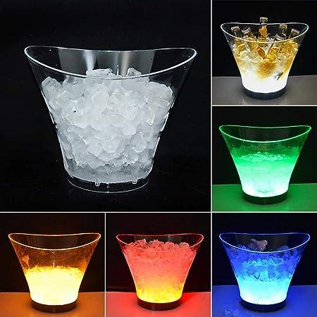 LED Eiswürfelbehälter Eiskübel Eisbehälter Flaschenkühler Weinkühler 5 Farben