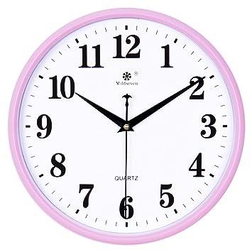 AIZIJI Reloj de pared dibujo creativos modernos relojes de cuarzo silencio círculo calendario electrónico Home reloj-tabla-28CM: Amazon.es: Hogar