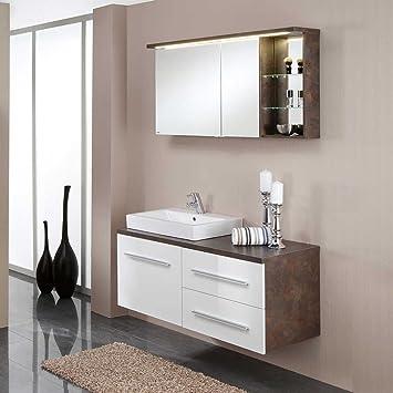 Badezimmer Kombination Mit Spiegelschrank Hochglanz Weiß (2 Teilig) Pharao24