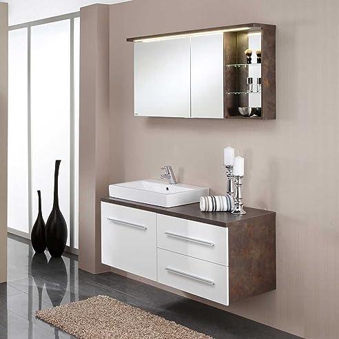 Schön Badezimmer Kombination Mit Spiegelschrank Hochglanz Weiß (2 Teilig) Pharao24