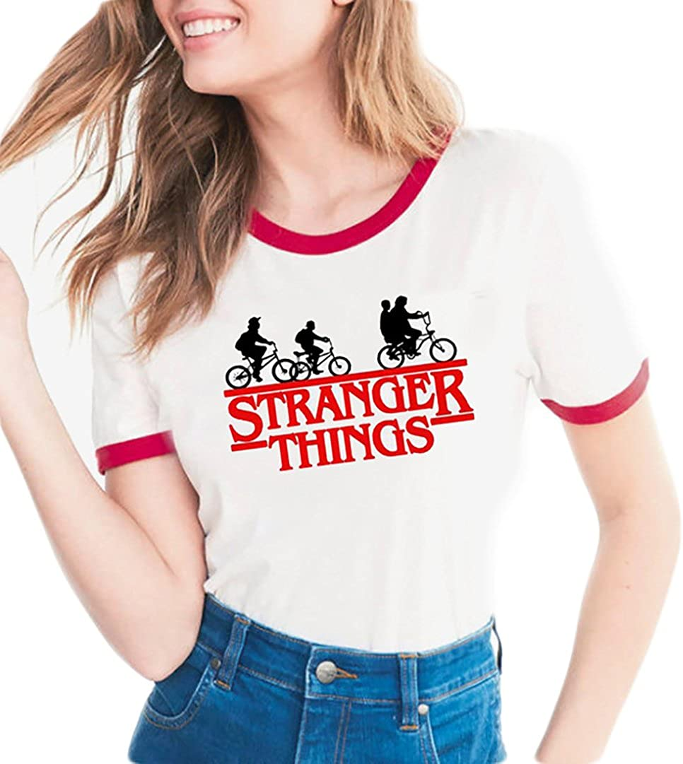 Womens Stranger Things Print Short Sleeve O-Neck T Shirt Blouse Summer T-Shirt